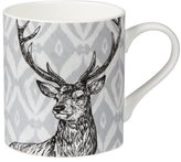 "Queens Patter Repeat Earth Ikat Stag"" Mug, Multi-Colour, 340 ml"