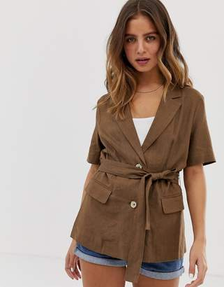 Bershka short sleeve blazer in brown