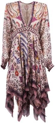 Etro Pink Silk Mixed Print Dress