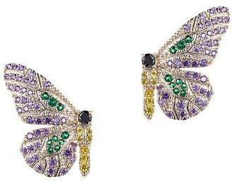 Eye Candy La Luxe Butterfly Silvertone & Crystal Earrings