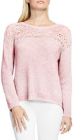 Vince Camuto Pointelle Yoke Sweater (Petite)