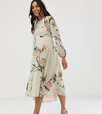 Hope & Ivy Maternity floral long sleeve skater midi dress
