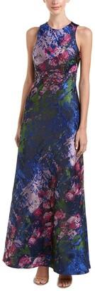 Carmen Marc Valvo Women's Cutaway Sleeveless Brocade Gown W/Beads