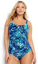 Lands' End Women's Plus Size Slender Underwire Carmela One Piece Swimsuit-White/Electric Blue Palms