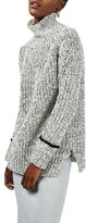 Topshop Women's Stripe Cuff Funnel Neck Sweater