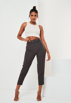 Missguided Petite Dark Grey Co Ord Belted Cigarette Trousers