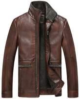 Jinmen 2016 New Men's Grade PU Leather Lamb Wool Fur Coats Warm Outwear Parka (Meduim, )