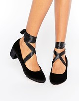 Asos SO TRUE Velvet Lace Up Heels