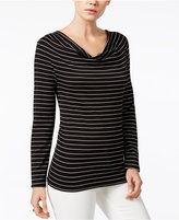 Bar III Striped Draped Top, Only at Macy's