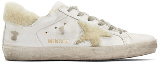 Golden Goose White Shearling Superstar Sneakers