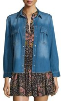 Zadig & Voltaire Faded Snap-Front Denim Shirt, Blue