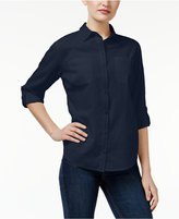 Karen Scott Petite Roll-Tab Shirt, Only at Macy's