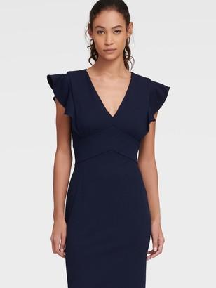 DKNY Women's Sheath Dress With Ruffle Cap Sleeve - Spring Navy - Size 00