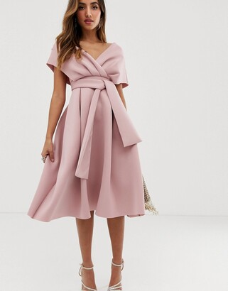 Asos Design DESIGN fallen shoulder midi prom dress with tie detail-Pink