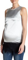 Pineapple Clothing Charmeuse Sleeveless Lace Trim Tank (Maternity)