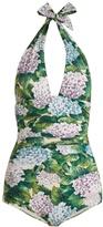 Dolce & Gabbana Hydrangea-print halterneck swimsuit