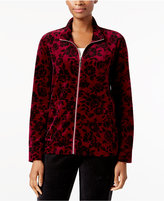 Karen Scott Printed Velvet Mock-Neck Jacket, Created for Macy's