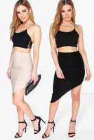Boohoo Petite Irene 2 Pack Asymmetric Slinky Skirt