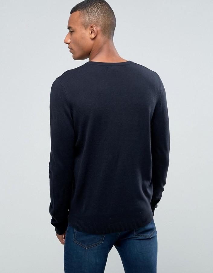 Asos V-Neck Sweater in Navy