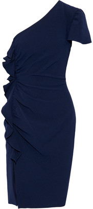 Mikael Aghal One-shoulder Ruched Cady Dress