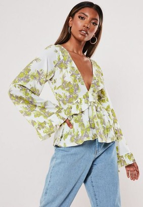 Missguided Floral Plunge Peplum Top