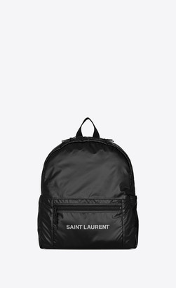 Saint Laurent Nuxx Backpack In Nylon Silver Black Onesize