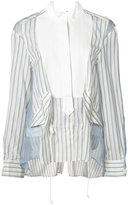 Sacai sheer panel stripe bib shirt - women - Cotton/Cupro/Silk - 2