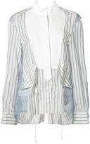 Sacai sheer panel stripe bib shirt - women - Silk/Cotton/Cupro - 2