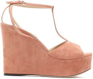Sergio Rossi Suede Platform Wedge Sandals