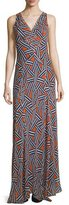 Diane von Furstenberg Dita Sleeveless Ribbon Rectangles Silk Gown, Orange