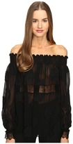 Yigal Azrouel Open Shoulder Smocked Fille Coupe Top
