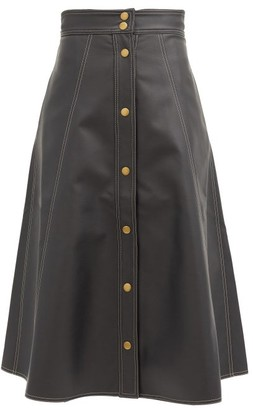 Vika 2.0 - A-line Topstitched Faux-leather Skirt - Black