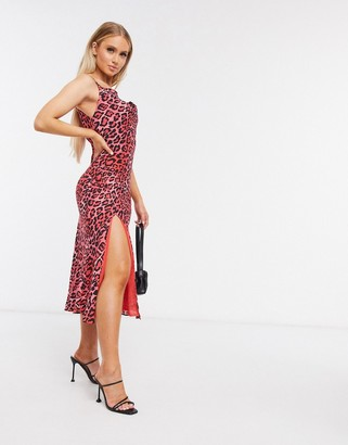 Talulah leopard midi dress in red
