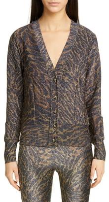 Ganni Tiger Print Metallic Jersey Cardigan