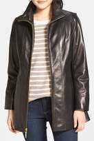 Ellen Tracy Genuine Leather A-Line Coat