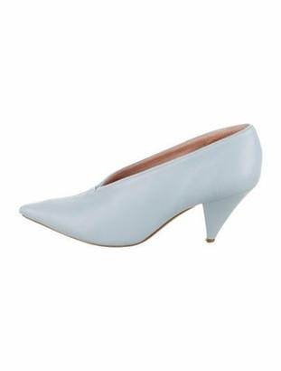 Celine Leather Pointed-Toe Pumps blue