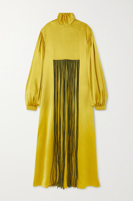 Roksanda Zina Fringed Silk-satin Turtleneck Gown - Bright green
