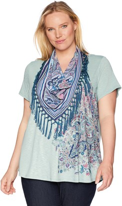 One World ONEWORLD Women's Short Sleeve Tee with Fringe Scarf