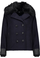 Line Drew Faux Fur And Leather-Trimmed Felt Coat