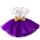 IBTOM CASTLE Girl Newborn It's My 1st/2nd Birthday Shinny Printed Tutu Princess Dress Onesie Outfit Set