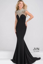 Jovani Crystal Embellihsed and Sheer Neckline Mermaid Prom Dress JVN47786