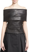 Rosetta Getty Off-the-Shoulder Banded Lamb Leather Top, Black