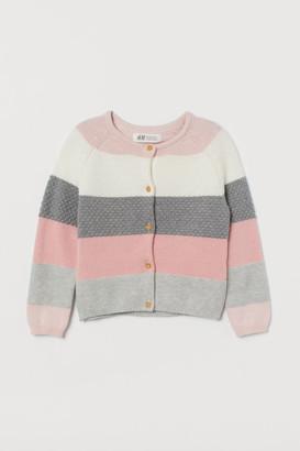 H&M Color-block Cotton Cardigan - Pink