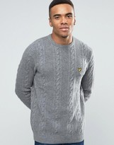 Lyle & Scott Crew Cable Knit Jumper Lambswool In Grey Marl