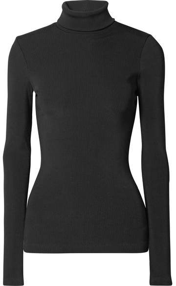 Gold Sign The Rib Stretch Cotton-blend Turtleneck Top - Black