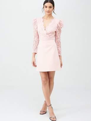 Very Lace Top Scuba Prom Dress - Blush
