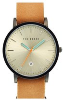 Ted Baker Men's Leather Strap Watch, 40Mm