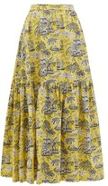 STAUD Orchid Tropical-print Cotton-blend Skirt - Womens - Yellow