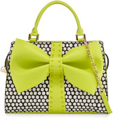 Betsey Johnson Curtsy Dotted Bow Satchel Bag, Citron