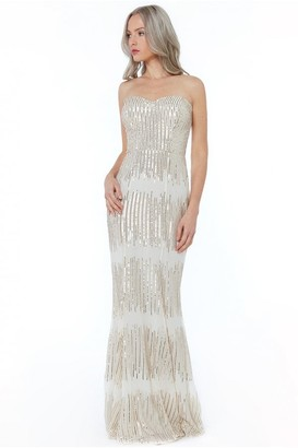 Goddiva Champagne Sequin Bandeau Maxi Dress